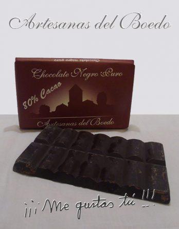 Chocolate Negro Puro Artesanas del Boedo. Disfruta del chocolate y de sus beneficios: mejora la circulación sanguínea, relaja, disminuye la retención de líquidos y levanta el ánimo.