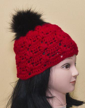 Gorro Rojo con Pompón Negro Chiguita